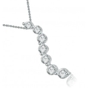 0.40Ct  SI1-2 Genuine Diamond Pave Set 14Kt Solid Gold Journey Pendant Necklace