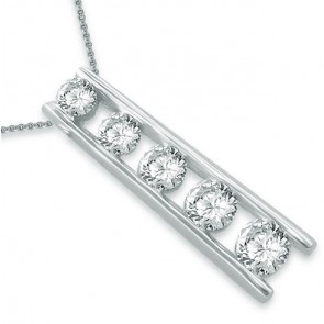 0.45Ct SI1-2  Round Cut Diamond Jewelry 14Kt Solid Gold Journey Pendant Necklace