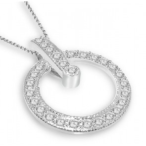 0.65Ct SI1-2  Not Enhanced Diamond 14K Gold Excellent Circle Pendant Necklace