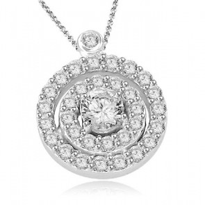 0.75ct SI1-2 Cluster Circle Pendant Necklace  Round Cut Diamond Jewelry 14K White Gold