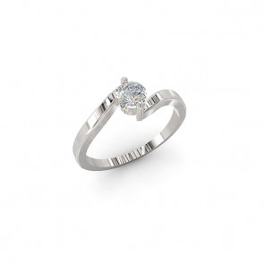 0.30Ct  SI1-2 Solitaire Engagement Ring Band Appraisal 18K White Gold