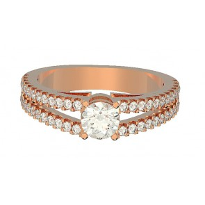 1.00 SI1-2 Accent Solitaire Diamond 18k engagement ring band