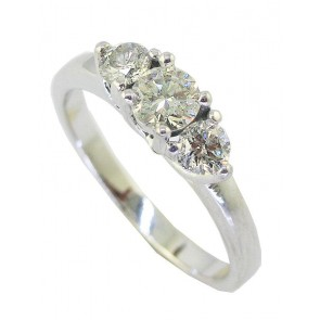 0.80Ct SI1-2 Natural Diamond 18Kt White Gold 3 Stone Wedding Ring Band Appraisal