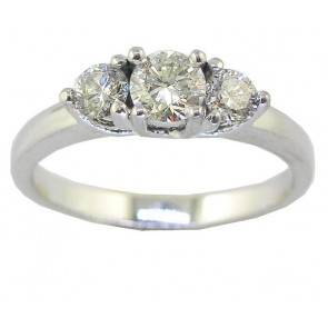 0.80Ct VS Natural Diamond 18Kt White Gold 3 Stone Wedding Ring Band Appraisal