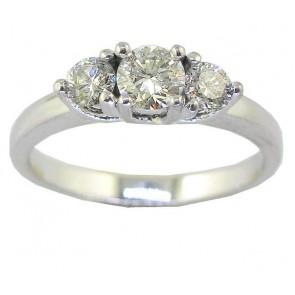 0.80Ct VS Natural Diamond 18Kt White Gold 3 Stone Wedding Ring Band Appraisal