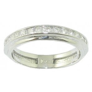 0.50ct SI1-2 Excellent Engagement Ring Band Channel Set Round Diamond 18k White Gold
