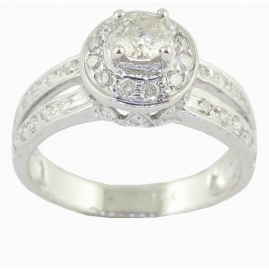 0.80ct SI1-2  Split Shank Solitaire Engagement Ring Band Round Diamond 18Kt Gold