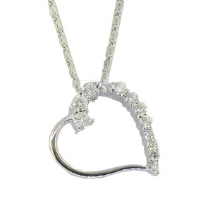 0.45Ct SI1-2  Round Diamond 18Kt Gold Love of Heart Pendant Necklace Appraisal