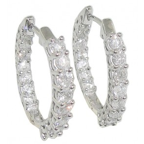 1.01Ct  SI1-2  In & Out Side Diamond Excellent 18K Gold Hoop Huggies Earrings
