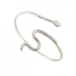 1.40ct SI1-2 Beautiful Bangle Bracelet Pave Set  Round Cut Diamond 14Kt White Gold