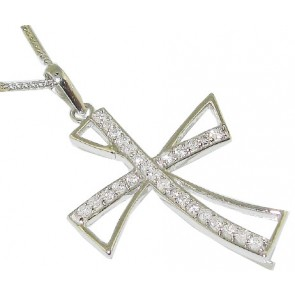 0.65Ct SI1-2  Natural Diamond Jewelry 18Kt Solid White Gold Cross Pendant Necklace