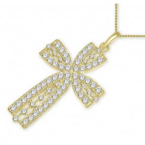 2.10Ct SI1-2 Round Cut Diamond Jewelry 14Kt Gold 1.60 Inch Cross Pendant Necklace