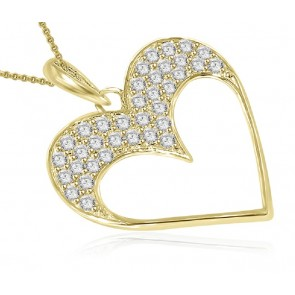 0.85ct SI1-2 Heart Pendant Necklace New  Not Enhanced Diamond Jewelry Solid Gold