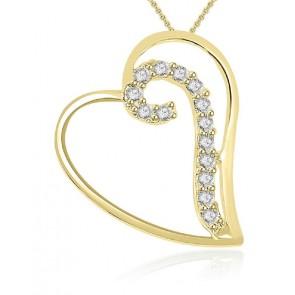 0.20ct VS diampond 18K Gold Heart Pendant Necklace