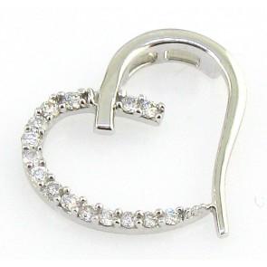 0.25Ct VS Round Diamond 18Kt Gold Heart Pendant Necklace