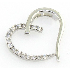 0.25 VS Round Cut Diamond 18k Gold Heart Pendant Necklace