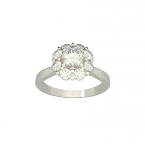 0.70ct SI1-2  Diamond Solid 18Kt Gold Solitaire Halo Engagement Ring Band