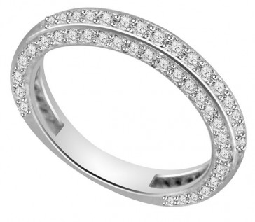 1.10Ct SI1-2 Wedding Anniversary Ring Band Size 4-10 Round Diamond 18K White Gold