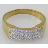 0.40Ct SI1-2 Real Diamond 18Kt Gold Men's Engagement Wedding Ring Band Pave Set
