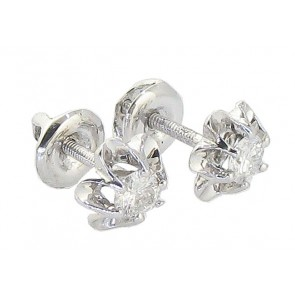 0.40 SI1-2 New Solitaire Flower Studs EarringsRound Diamond Jewelry White Gold