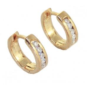 0.20Ct SI1-2 hannel Set Diamond Jewelry 14Kt Solid Gold Hoops Huggies Earrings