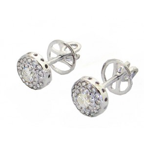 0.60Ct SI1-2 Real Diamond Jewelry 14K White Gold Cluster Stud Earrings