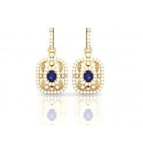 Dangle Chandelier Earrings SI1-2 Huge 1.50Ct Not Enhanced Diamond 14Kt Solid Gold