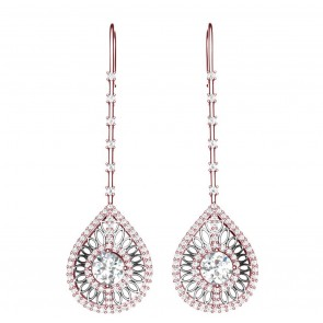 2.30 Ct SI1-2 Huge Real Diamond Solid Gold Excellent Fashion Drop Dangle Earrings