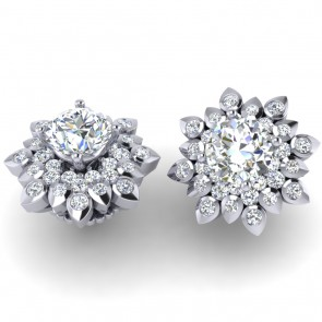 2.30 Ct SI1-2  Not Enhanced Diamond Jewelry 14Kt Solid Gold Cluster Studs Earrings