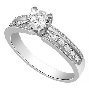 0.80Ct SI1-2 Natural Diamond Jewelry 18Kt Solid Gold Solitaire Anniversary Ring