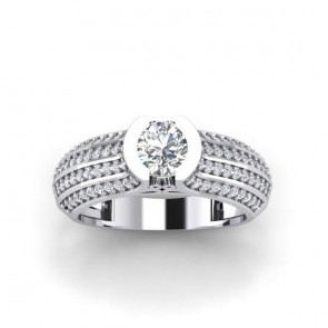 1.40ct SI1-2 Diamond 18k Solitaire Wedding Ring Band Size 4-10