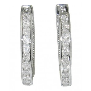 1.01Ct SI1-2 Diamond Jewelry New 14Kt Solid Gold Excellent Hoop Earrings