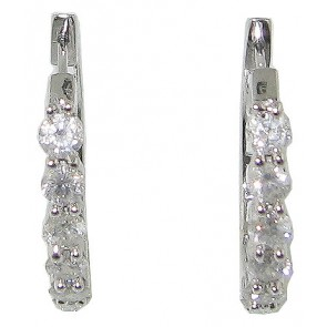 1.20ct SI1-2 Prong Set Hoops Huggies Earrings Real Diamond Jewelry 14K White Gold
