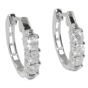 0.50Ct SI1-2 Real Diamond Two-Tone Gold Appraisal Hoop Huggies Earring Prong Set