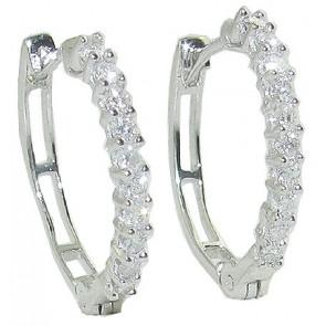 0.30ct SI1-2 Hoop Huggies Earrings Genuine  Diamond Jewelry White Gold Appraisal