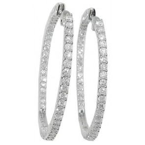 3.50Ct  SI1-2 Hoop Earrings In Side & Out Side Round Diamond 14Kt White Gold