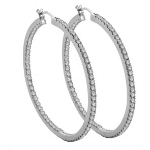 3.30Ct SI1-2  In & Out Side Real Diamond 14K White Gold Hoops Huggie Earrings