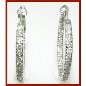 1.60Ct VS In & Out Side Diamond 18K Gold Jewelry Hoop Earrings