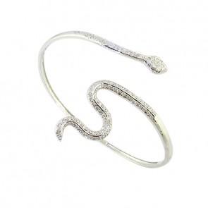 1.40ct SI1-2 Beautiful Bangle Bracelet Pave Set  Round Cut Diamond 14Kt White Gold